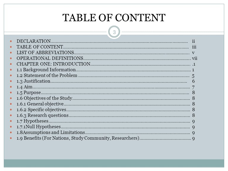 TABLE OF CONTENT 3 DECLARATION………………………………………………………………………………………………ii TABLE OF CONTENT………………………………………………………………………………………iii LIST OF ABBREVIATIONS……………………………………………………………………………….v OPERATIONAL DEFINITIONS………………………………………………………………………….vii CHAPTER ONE: INTRODUCTION……………………………………………………………………..1 1.1 Background Information……………………………………………………………………………….1 1.2 Statement of the Problem…………………………………………………………………………….