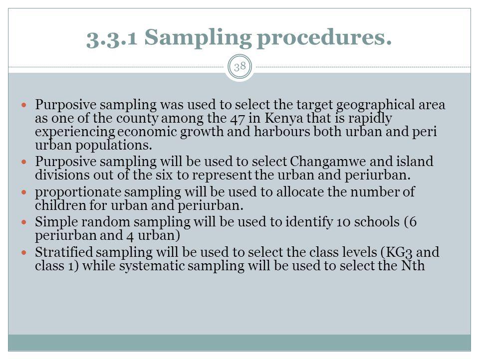 3.3.1 Sampling procedures.