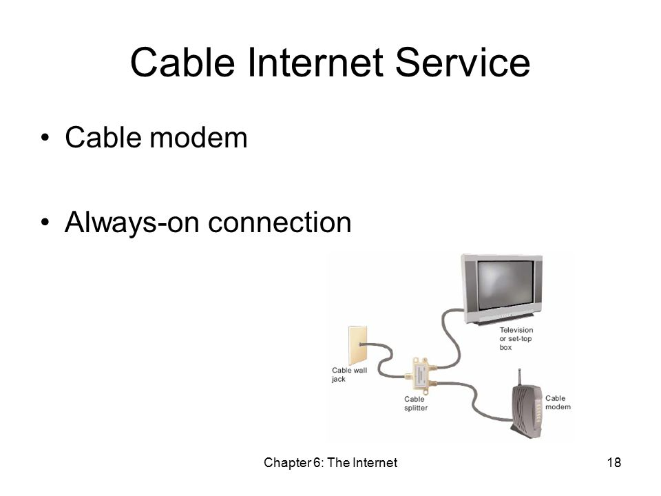 Chapter 6: The Internet18 Cable Internet Service Cable modem Always-on connection