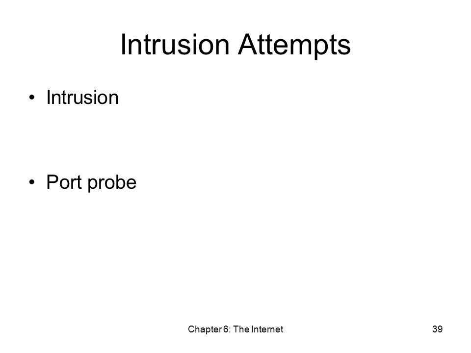 Chapter 6: The Internet39 Intrusion Attempts Intrusion Port probe