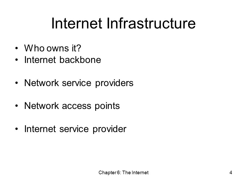 Chapter 6: The Internet4 Internet Infrastructure Who owns it.
