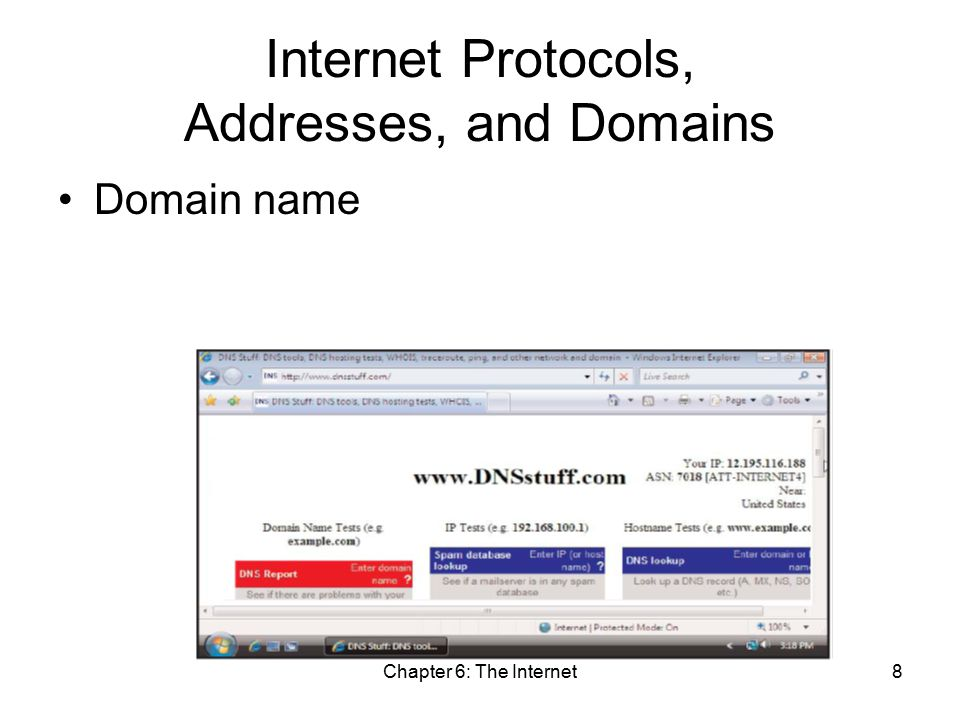 Chapter 6: The Internet8 Internet Protocols, Addresses, and Domains Domain name