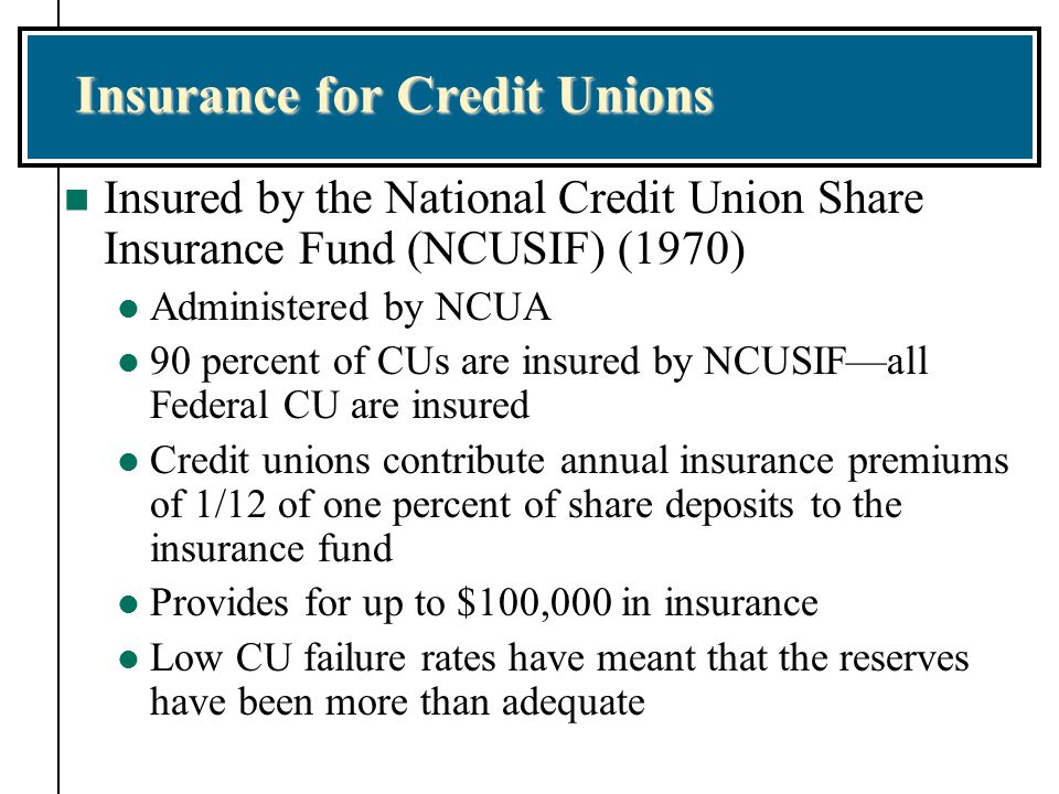 Insurance for Credit Unions n Insured by the National Credit Union Share Insurance Fund (NCUSIF) (1970) l Administered by NCUA l 90 percent of CUs are insured by NCUSIF—all Federal CU are insured l Credit unions contribute annual insurance premiums of 1/12 of one percent of share deposits to the insurance fund l Provides for up to $100,000 in insurance l Low CU failure rates have meant that the reserves have been more than adequate