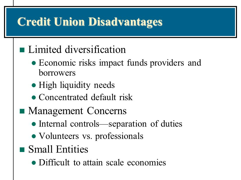 Credit Union Disadvantages n Limited diversification l Economic risks impact funds providers and borrowers l High liquidity needs l Concentrated default risk n Management Concerns l Internal controls—separation of duties l Volunteers vs.