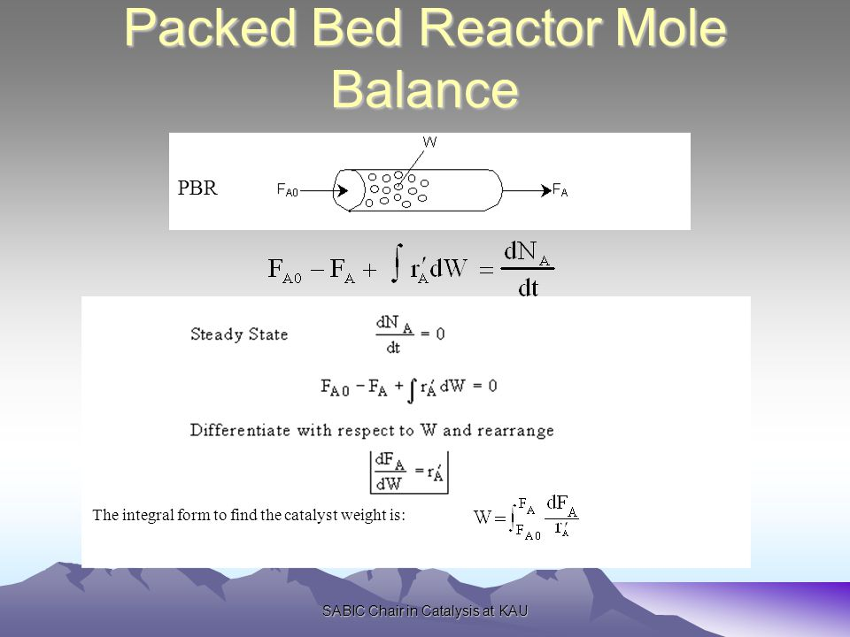 SABIC Chair in Catalysis at KAU Packed Bed Reactor Mole Balance PBR The integral form to find the catalyst weight is: