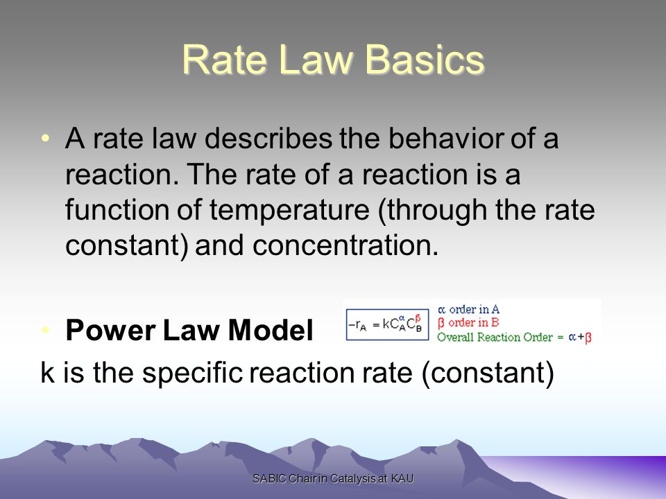 Rate Law Basics A rate law describes the behavior of a reaction.