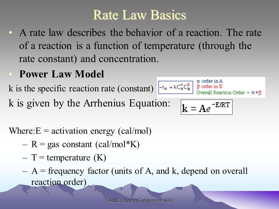 SABIC Chair in Catalysis at KAU Rate Law Basics A rate law describes the behavior of a reaction.