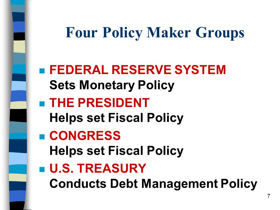 7 Four Policy Maker Groups n FEDERAL RESERVE SYSTEM Sets Monetary Policy n THE PRESIDENT Helps set Fiscal Policy n CONGRESS Helps set Fiscal Policy n U.S.