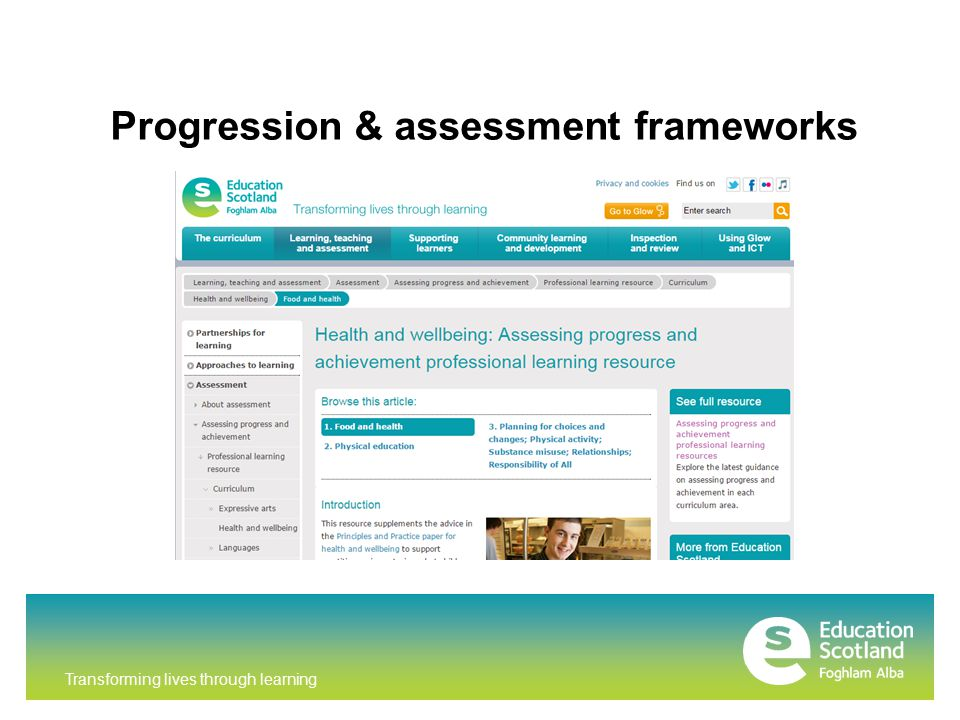 Transforming lives through learning Progression & assessment frameworks