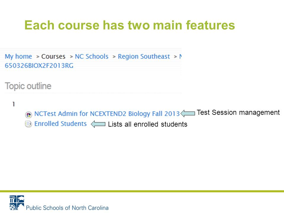 Each course has two main features Lists all enrolled students Test Session management