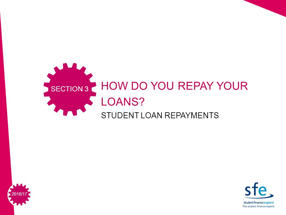 2015/ /17 HOW DO YOU REPAY YOUR LOANS STUDENT LOAN REPAYMENTS SECTION 3