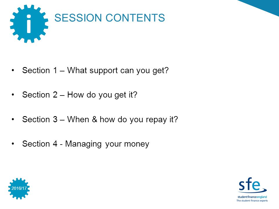 2016/17 SESSION CONTENTS i Section 1 – What support can you get.