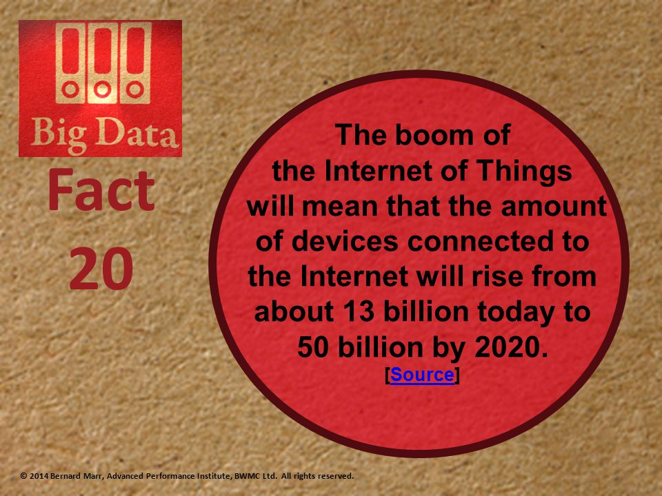 The boom of the Internet of Things will mean that the amount of devices connected to the Internet will rise from about 13 billion today to 50 billion by 2020.