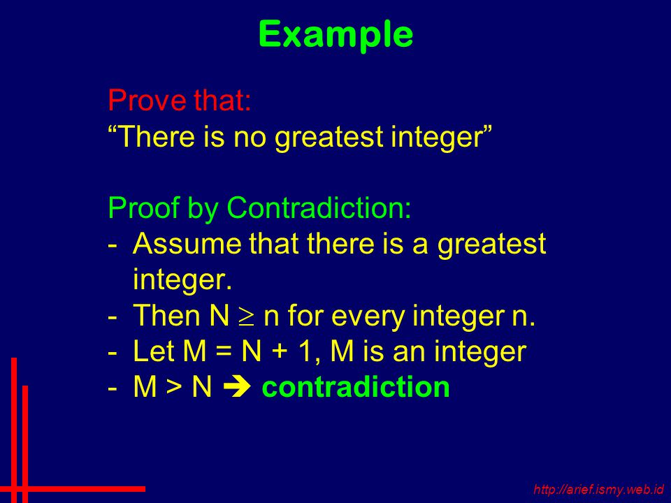 Example Prove that: There is no greatest integer Proof by Contradiction: -Assume that there is a greatest integer.