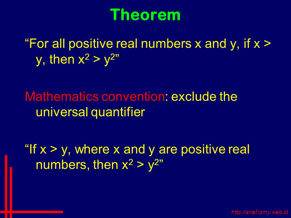 Theorem For all positive real numbers x and y, if x > y, then x 2 > y 2 Mathematics convention: exclude the universal quantifier If x > y, where x and y are positive real numbers, then x 2 > y 2