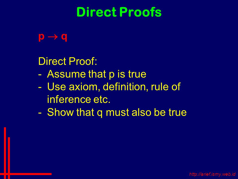 Direct Proofs p  q Direct Proof: -Assume that p is true -Use axiom, definition, rule of inference etc.