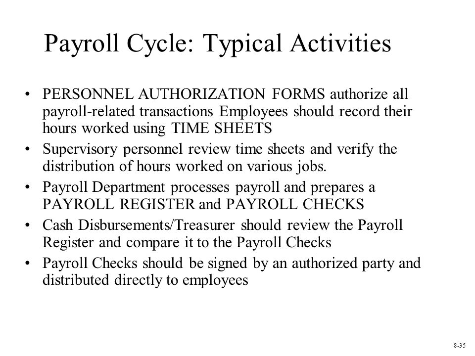 Payroll Cycle: Typical Activities PERSONNEL AUTHORIZATION FORMS authorize all payroll-related transactions Employees should record their hours worked using TIME SHEETS Supervisory personnel review time sheets and verify the distribution of hours worked on various jobs.