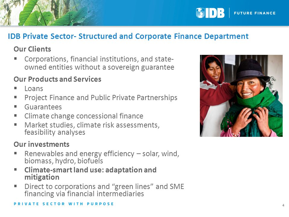 IDB Private Sector- Structured and Corporate Finance Department Our Clients  Corporations, financial institutions, and state- owned entities without a sovereign guarantee Our Products and Services  Loans  Project Finance and Public Private Partnerships  Guarantees  Climate change concessional finance  Market studies, climate risk assessments, feasibility analyses Our investments  Renewables and energy efficiency – solar, wind, biomass, hydro, biofuels  Climate-smart land use: adaptation and mitigation  Direct to corporations and green lines and SME financing via financial intermediaries 4