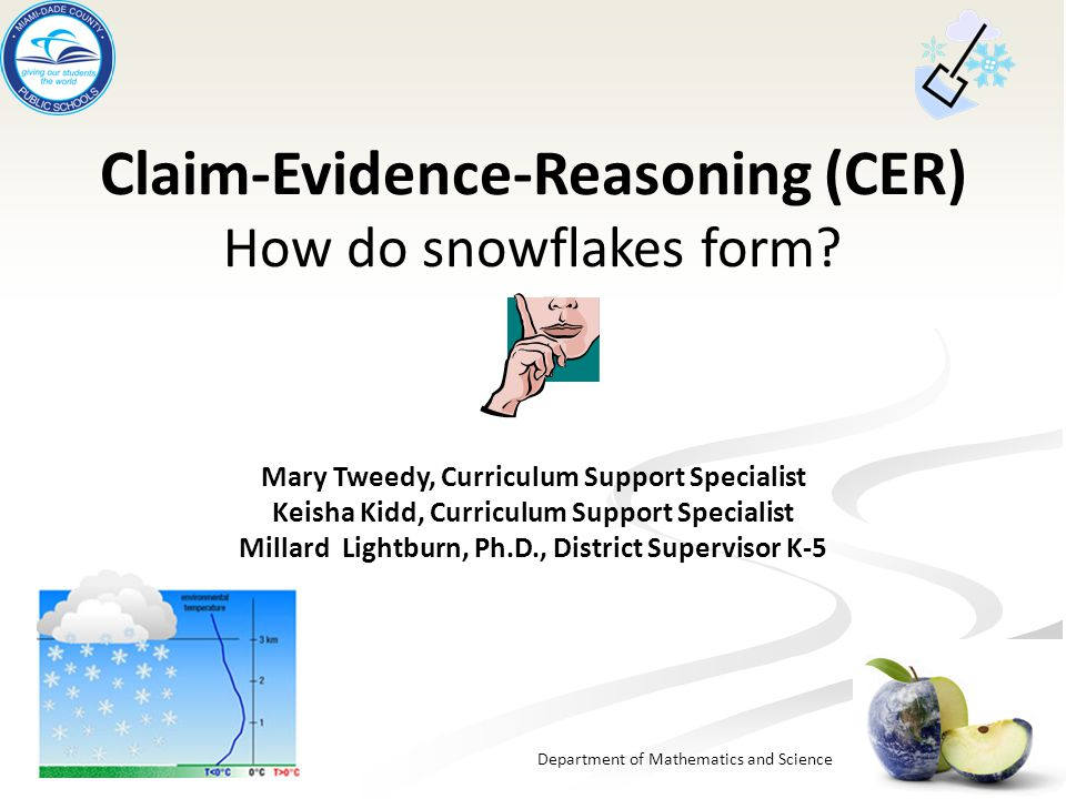 Department of Mathematics and Science Claim-Evidence-Reasoning ...