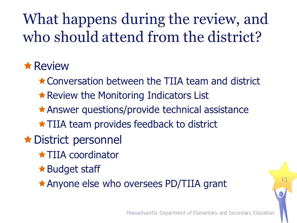 What happens during the review, and who should attend from the district.