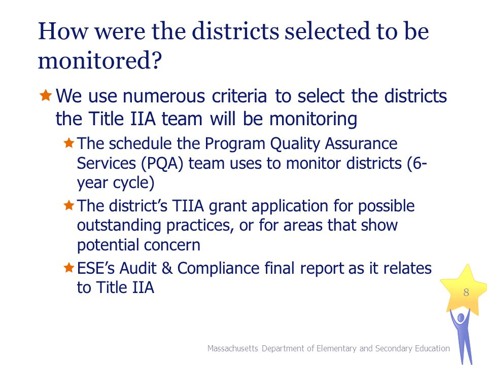 How were the districts selected to be monitored.