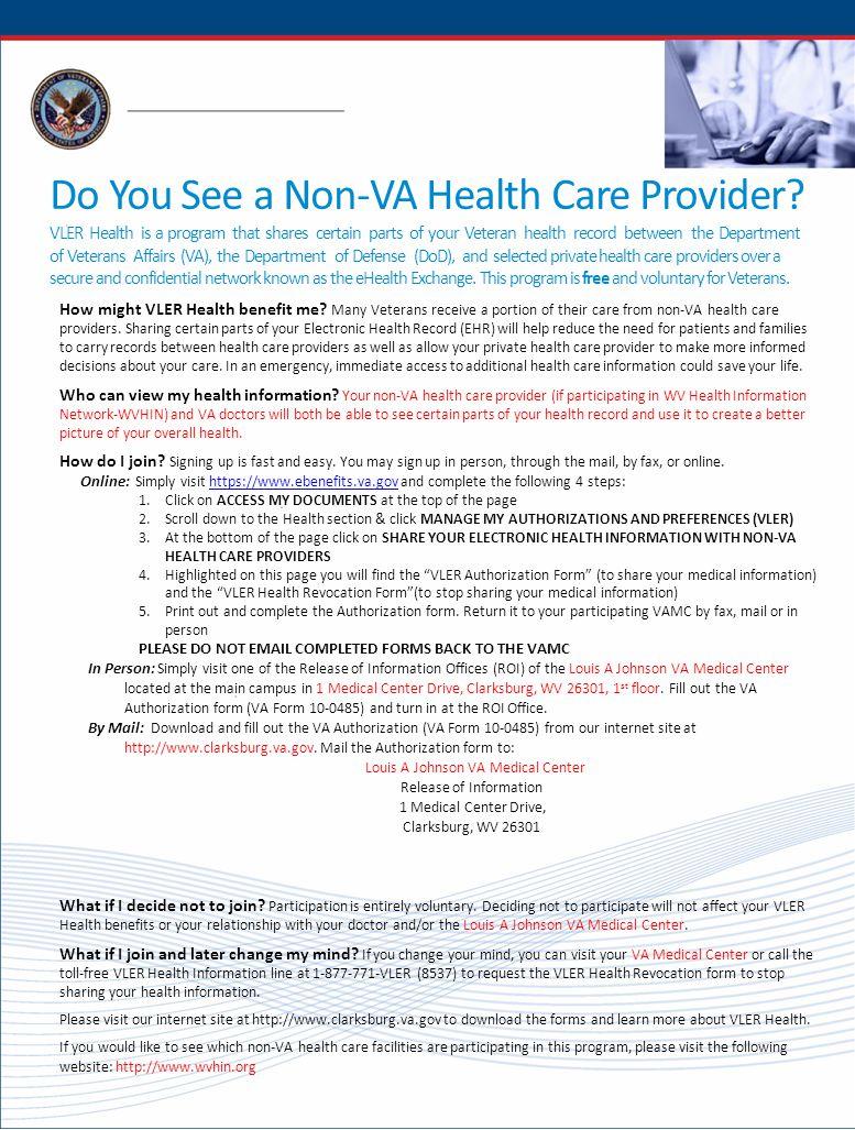 Do You See a Non-VA Health Care Provider? VLER Health is a program ...