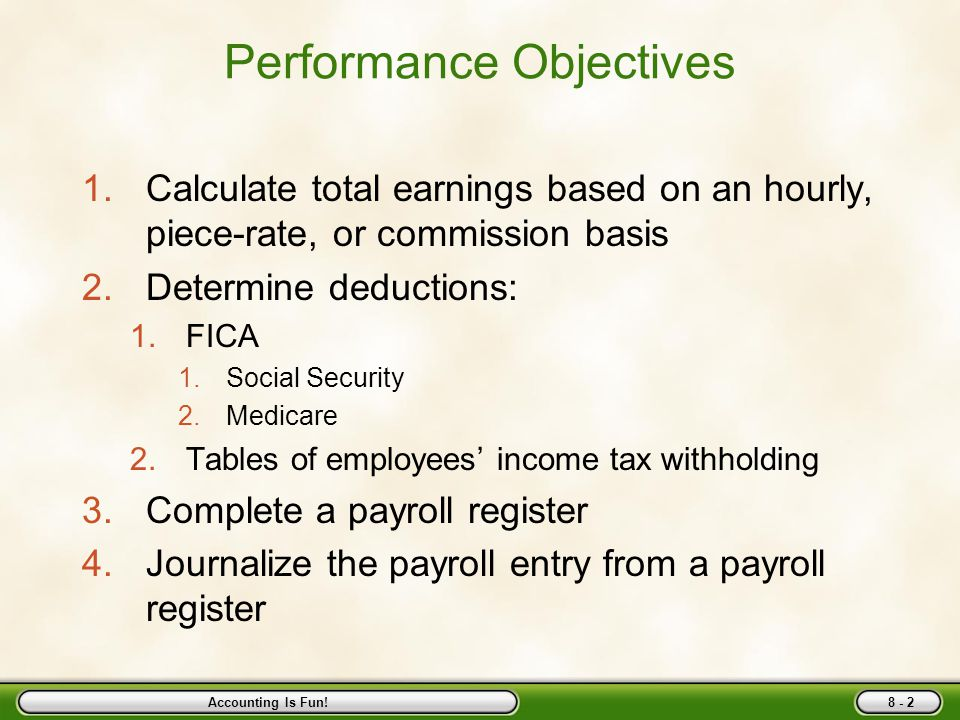 Chapter Eight Employee Earnings and Deductions