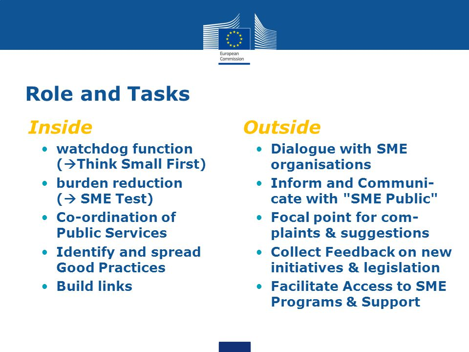 Role and Tasks Inside watchdog function (  Think Small First) burden reduction (  SME Test) Co-ordination of Public Services Identify and spread Good Practices Build links Outside Dialogue with SME organisations Inform and Communi- cate with SME Public Focal point for com- plaints & suggestions Collect Feedback on new initiatives & legislation Facilitate Access to SME Programs & Support