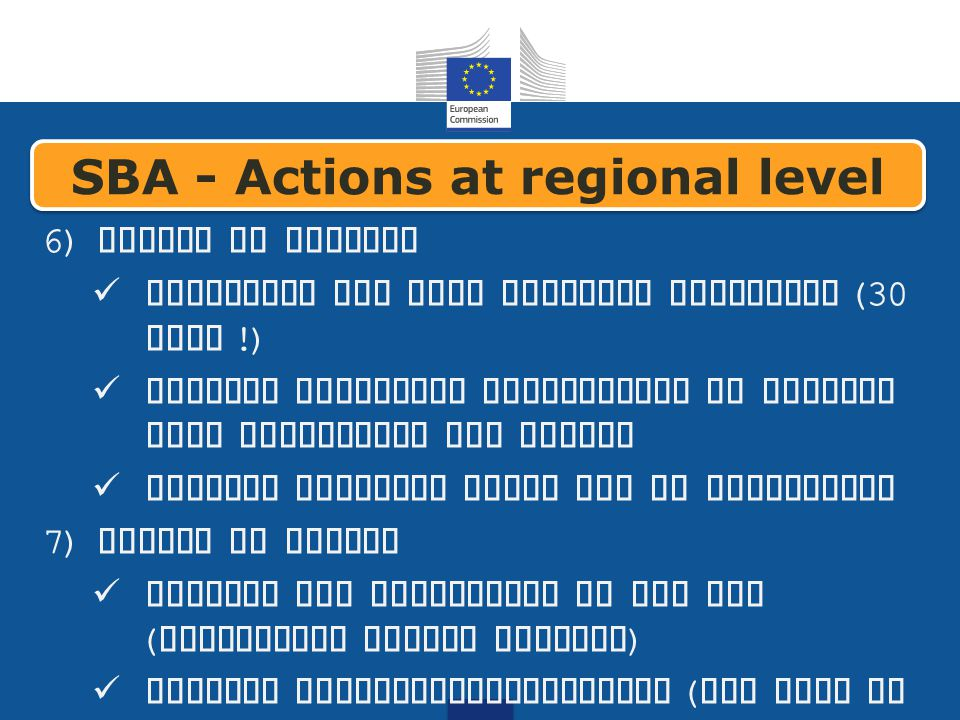 6) Access to finance implement the late payments directive (30 days !) develop financial instruments to provide loan guarantees and equity Support Business Angel and VC activities 7) Access to Market Promote the activities of the EEN ( Enterprise Europe Network ) Support internationalisation ( see also GB 7) SBA - Actions at regional level