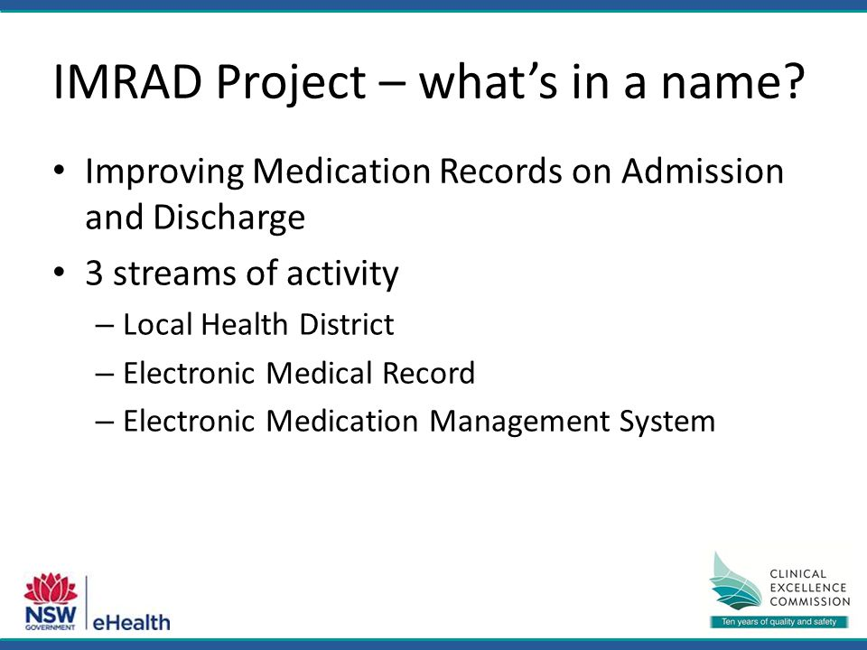 IMRAD Project – what's in a name.