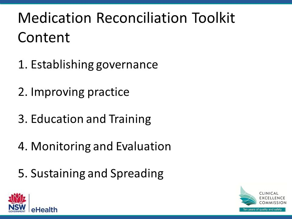 Medication Reconciliation Toolkit Content 1. Establishing governance 2.