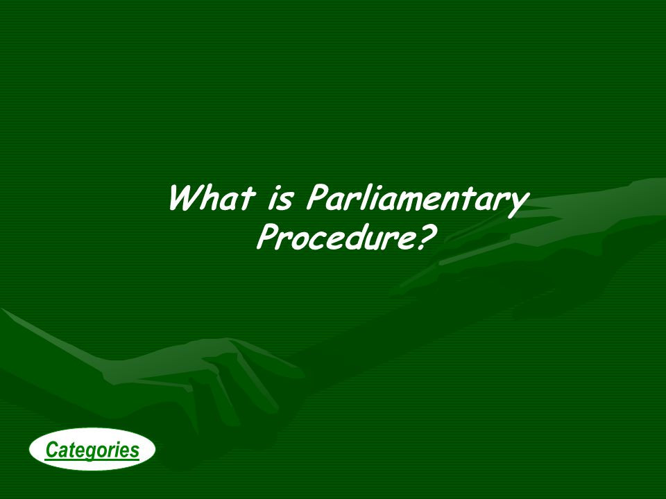 What is Parliamentary Procedure Categories