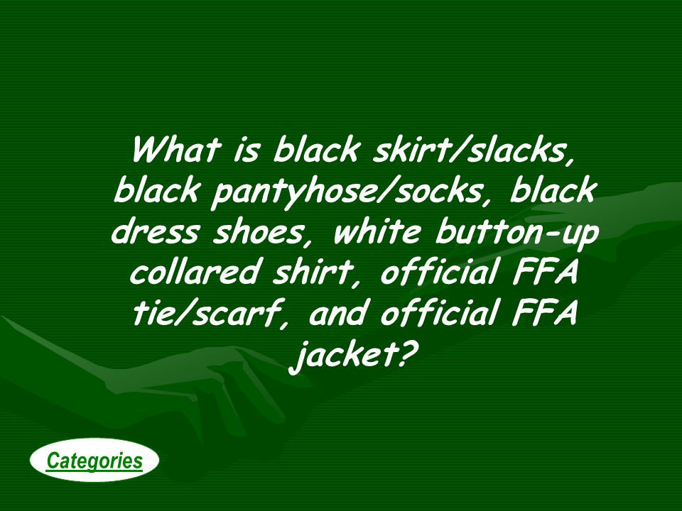 What is black skirt/slacks, black pantyhose/socks, black dress shoes, white button-up collared shirt, official FFA tie/scarf, and official FFA jacket.
