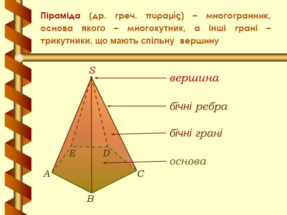 П і ра мі да (др. греч. πυραμίς) – многогранник, основа якого – много кутник, а інші гран і – тр икутники, що мають спільну вершину б ічні гран і осно