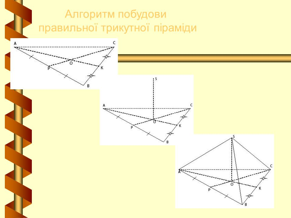 Алгоритм побудови правильної трикутної піраміди