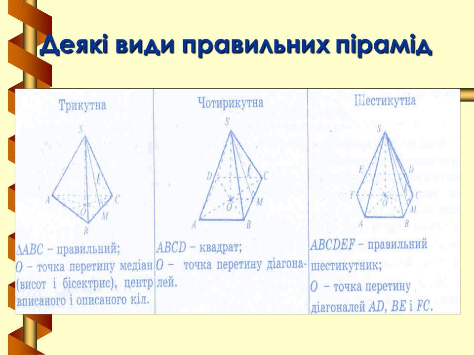 Деякі види правильних пірамід Деякі види правильних пірамід