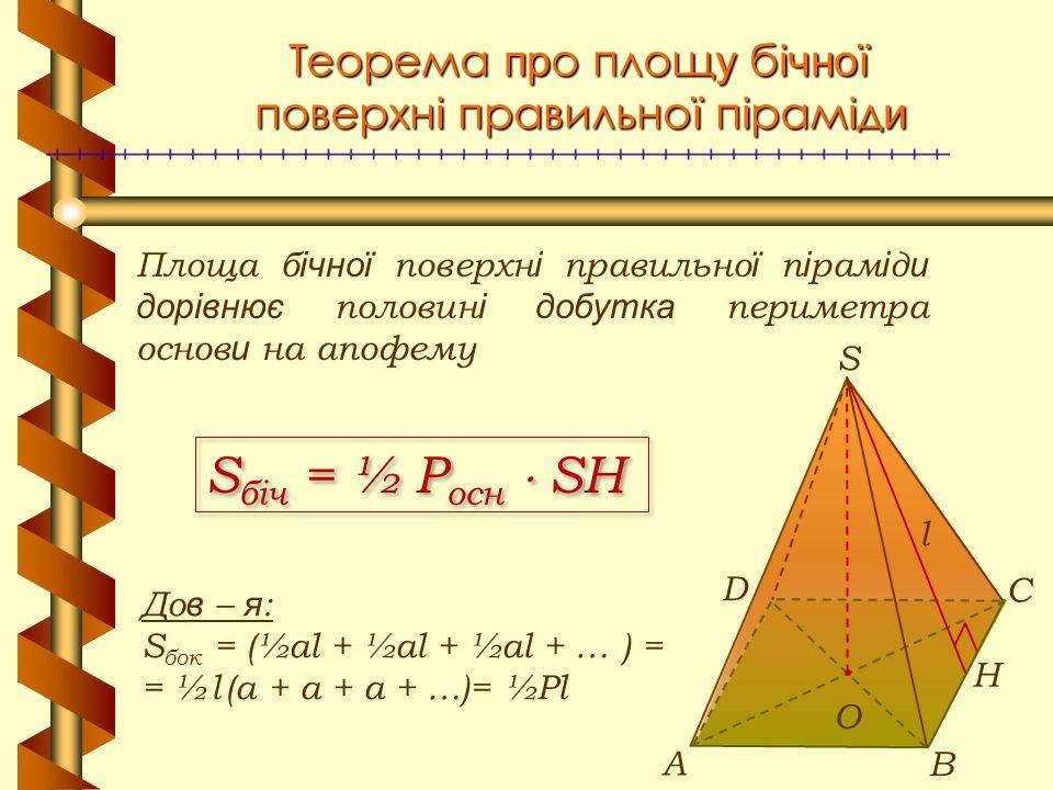 Теорема пр о площ у б ічної поверхн і правильно ї п і рам і д и Площа б ічної поверхн і правильно ї п і рам і д и дорівнює половин і добутка периметра