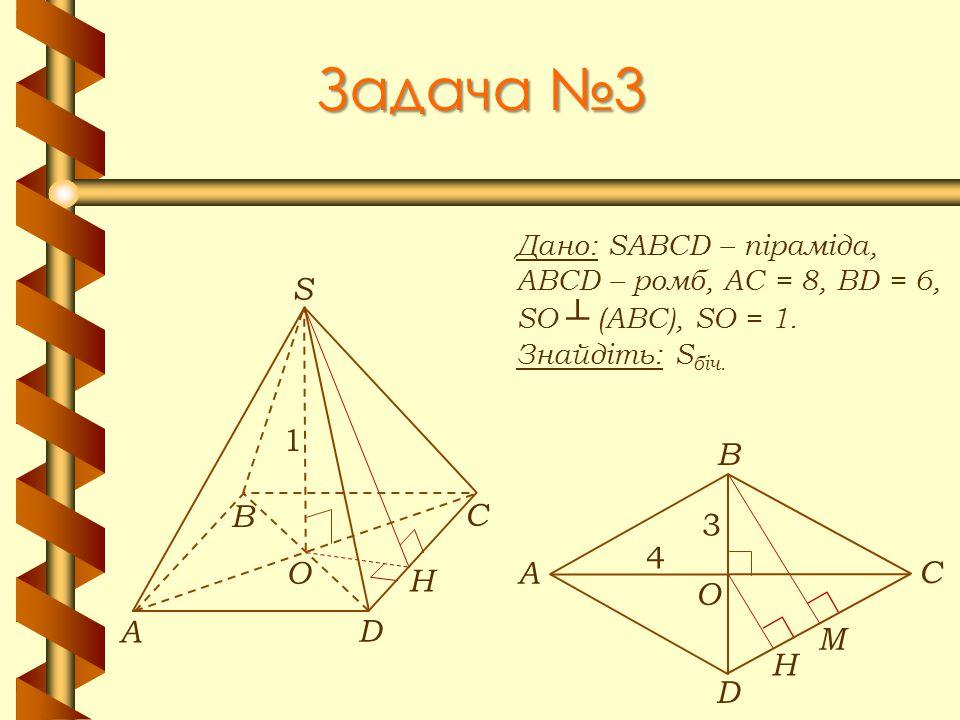 Задача №3 Дано: SABCD – піраміда, ABCD – ромб, АС = 8, BD = 6, SO ┴ (АВС), SO = 1. Знайдіть: S біч. М А В С D S O 1 H А В С D O H 4 3