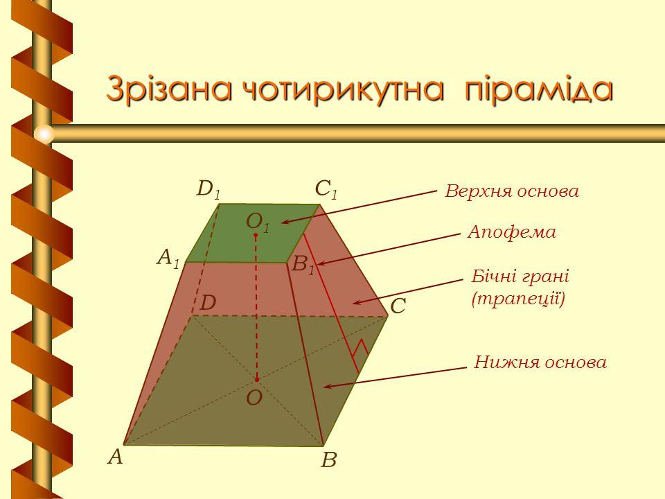 Зрізана чотирикутна піраміда В А С О1О1 A1A1 C1C1 D1D1 B1B1 D О Апофема Верхня основа Нижня основа Бічні грані (трапеції)