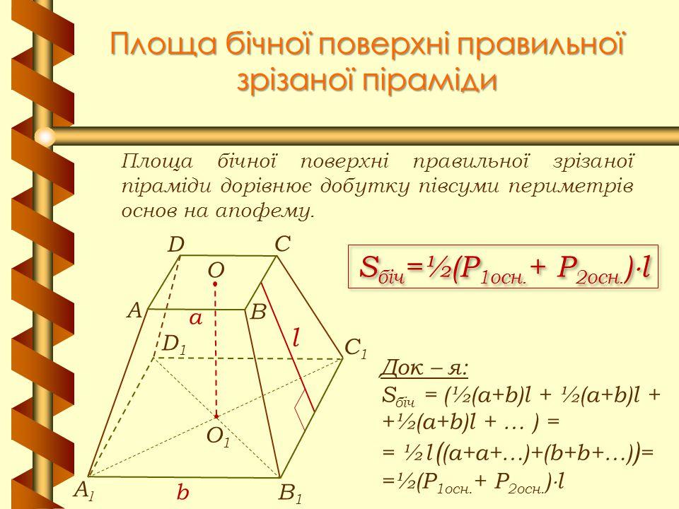 Площа бічної поверхні правильної зрізаної піраміди Площа бічної поверхні правильної зрізаної піраміди дорівнює добутку півсуми периметрів основ на апо