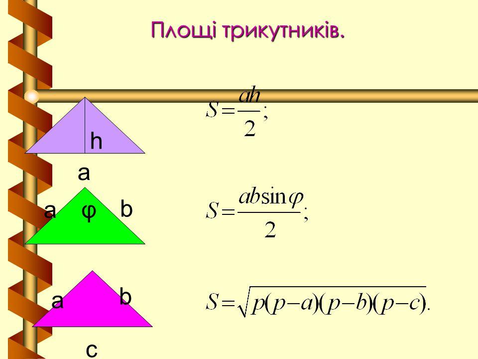 Площі трикутників. h a a b φ a b c