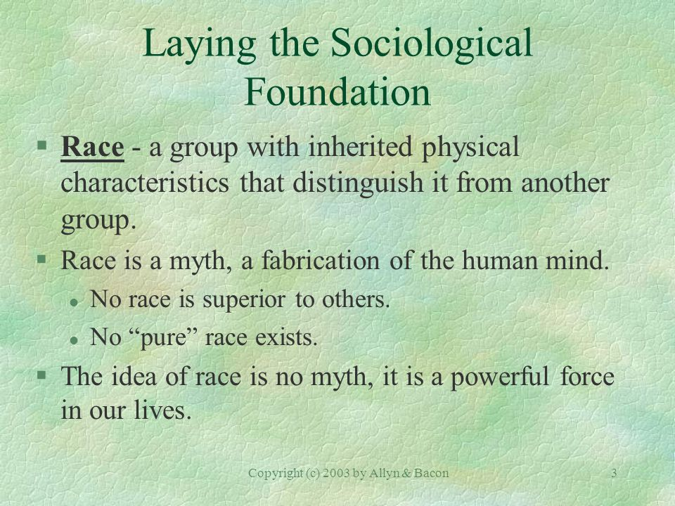 Copyright (c) 2003 by Allyn & Bacon3 Laying the Sociological Foundation §Race - a group with inherited physical characteristics that distinguish it from another group.