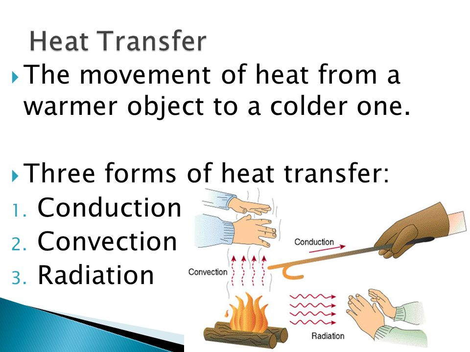 Conduction convection radiation.  Energy can be transferred from ...