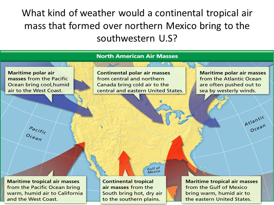 What kind of weather would a continental tropical air mass that formed over northern Mexico bring to the southwestern U.S