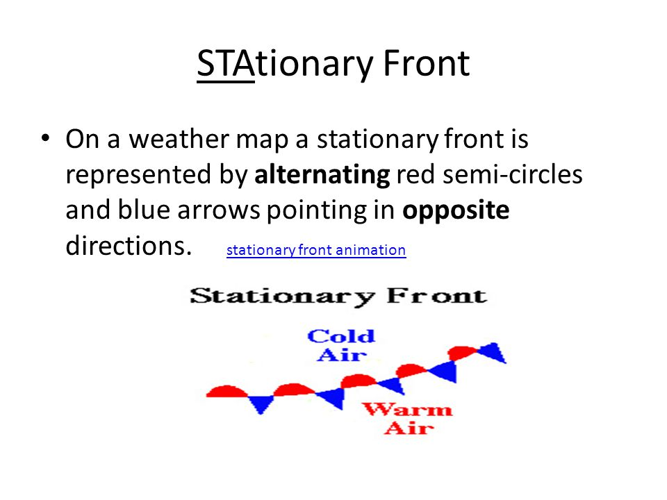 On a weather map a stationary front is represented by alternating red semi-circles and blue arrows pointing in opposite directions.
