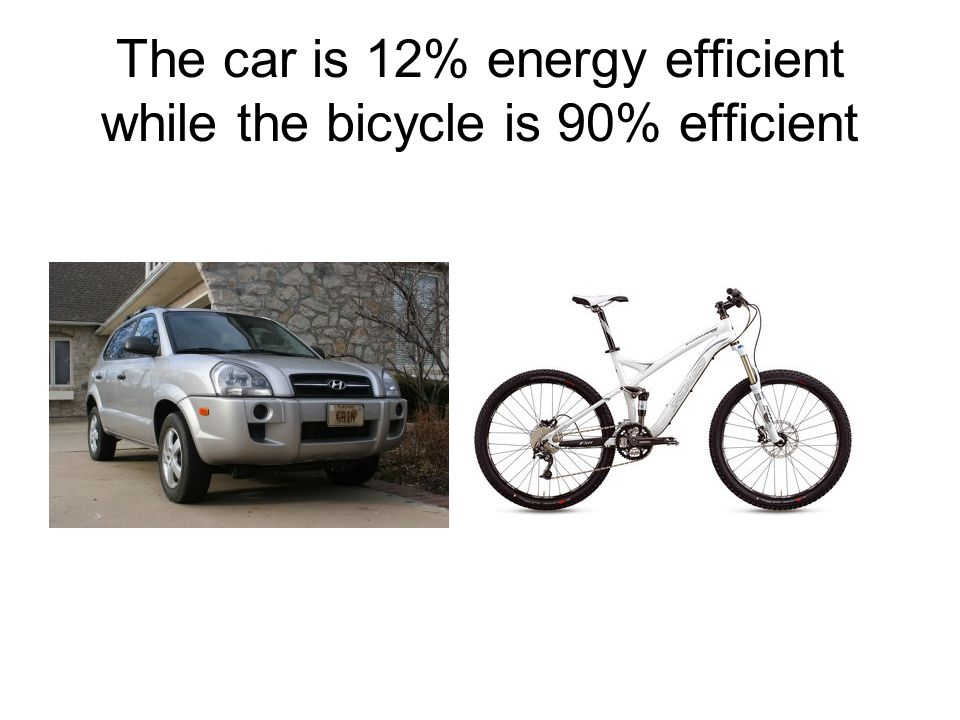 The car is 12% energy efficient while the bicycle is 90% efficient