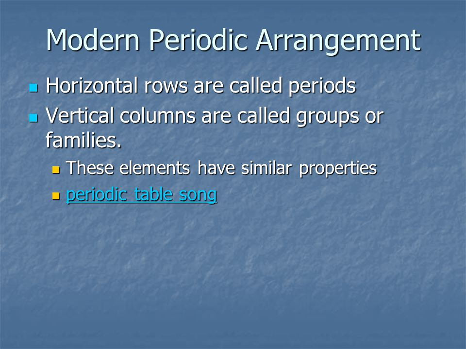 Modern Periodic Arrangement Horizontal rows are called periods Horizontal rows are called periods Vertical columns are called groups or families.