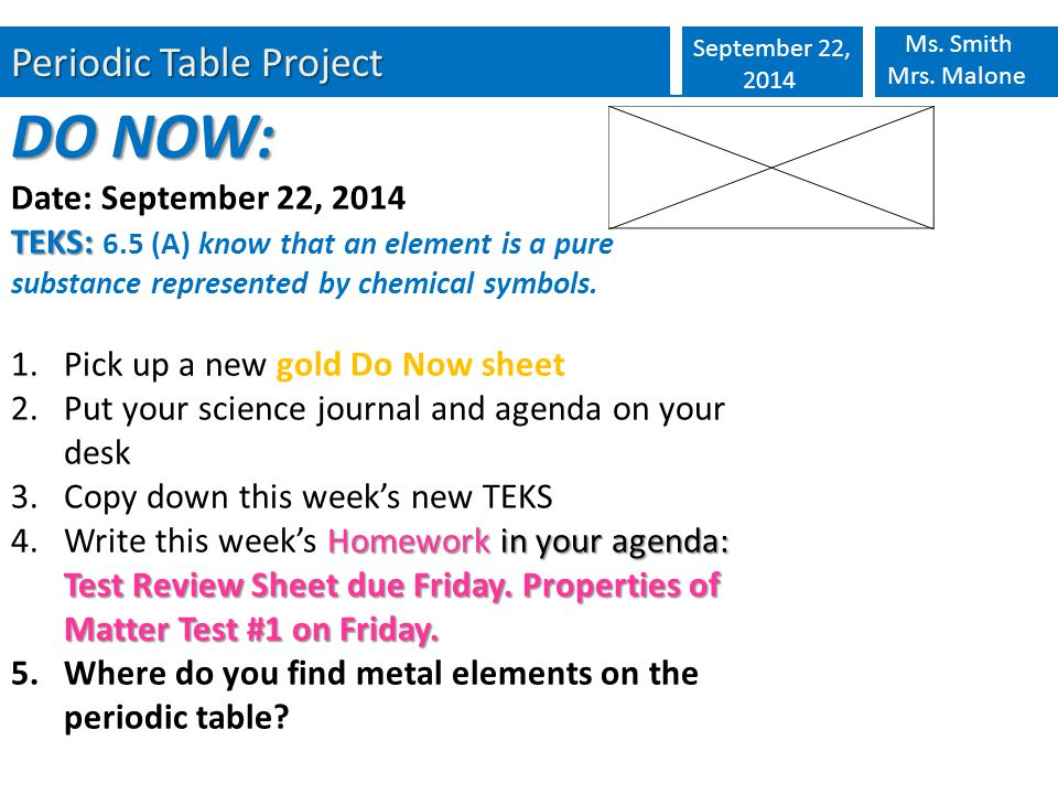 Periodic table project september 22 2014 ms smith mrs malone do 1 periodic table urtaz Image collections