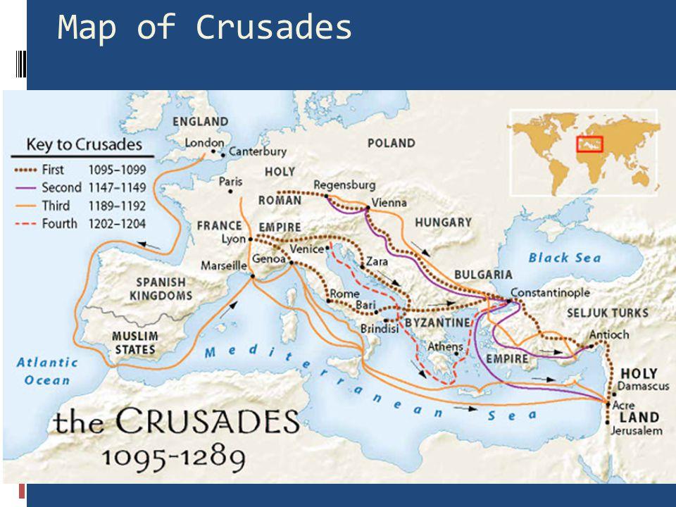 1st Crusade- 1096  Crusaders capture Jerusalem  1187- Jerusalem falls back to Muslim rule