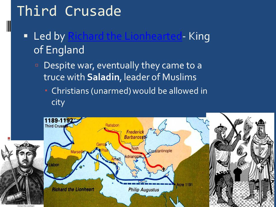 Crusade Europeans travel to the Holy Land on a mission but…  They Fail to recapture the city of Jerusalem